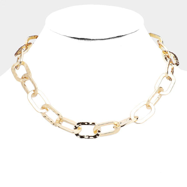 Hammered Metal Open Oval Link Statement Chunky Necklace - Gold Tone