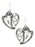 Heart LOVE Drop Dangle Filigree Silver Tone Earrings Women Fashion Jewelry