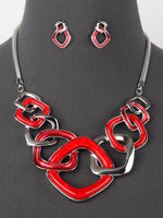Kassi Red Square Link Silver Tone Necklace Set