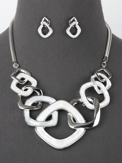 Kaylee Square Link Pearlessence Statement Chunky Necklace Set  White