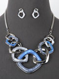 Kaylee Square Link Pearlessence Statement Chunky Necklace Set  Blue