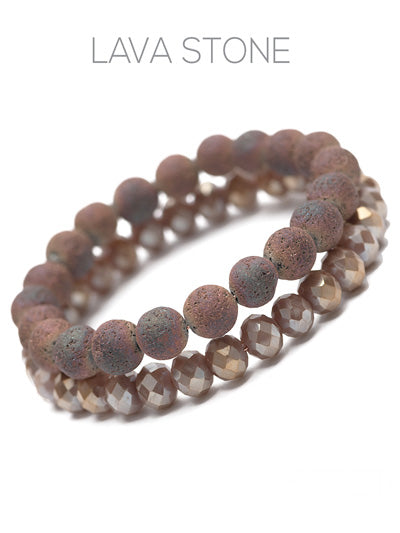 Lava Stone Glass Bead Stretch Bracelet