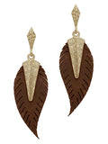 Leather Boho Leaf Dangle Earrings