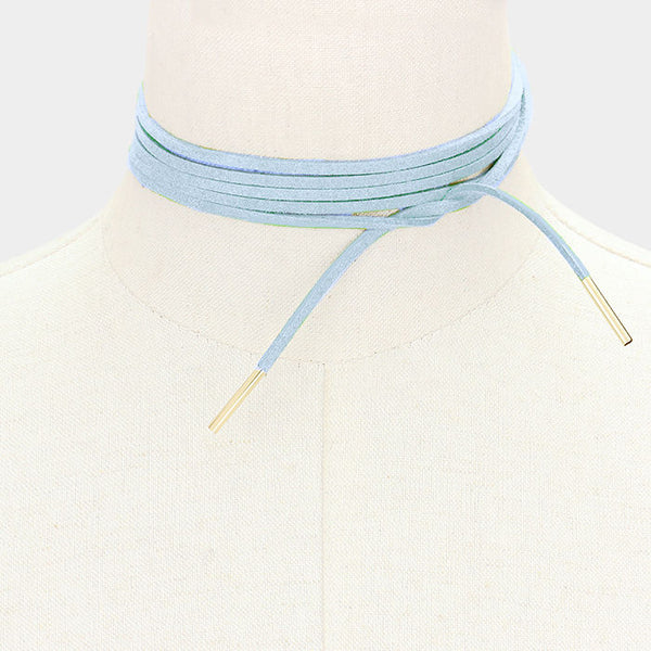 Long Faux Suede Tie Wrap Cord Blue Choker Necklace Gold Tone