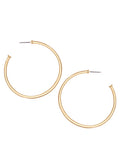 Matte Gold Tone Round Hoop Earrings