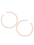 Matte Rose Gold Tone Round Hoop Earrings