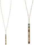Metal Bar Suede Long Necklace - Brown