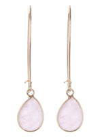 Minimalist Gemstone Fashion Drop Dangle Earrings - Pink