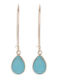 Minimalist Turquoise Teardrop Semi Precious Gemstone Earrings