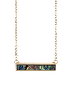 Minimalist Abalone Accent Bar Pendant Necklace
