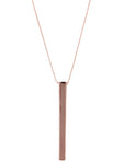 Minimalist Linear Vertical Cylinder Bar Pendant Necklace