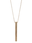Minimalist Vertical Linear Cylinder Bar Pendant Necklace