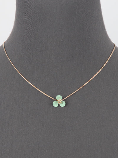 Mint Green Flower Gold Tone Adjustable Sliding Chain Necklace