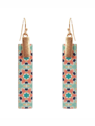 Moroccan Wooden Bar Matte Gold Tone Earrings