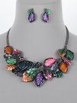 Multi Color Leaf Statement Bib Necklace Earrings Set