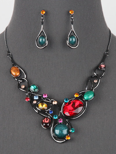Multi Color Statement Necklace Earrings Fashion Jewelry Set