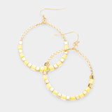 Open Circle Yellow Beaded Wire Hoop Gold Tone Earrings