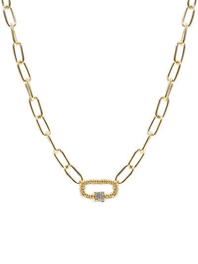 Oval Link Lock Collar Necklace - Gold Tone
