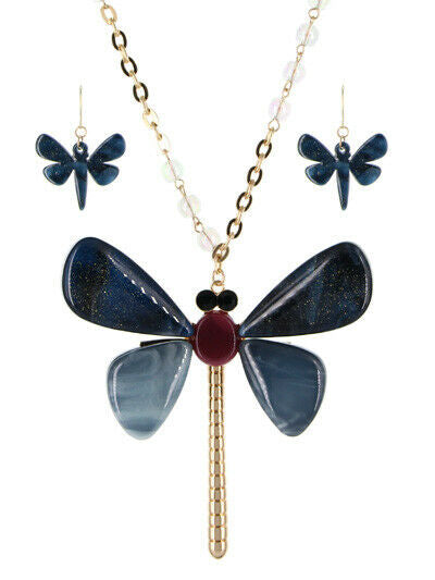Oversized Dragonfly Pendant Long Necklace Earrings Set