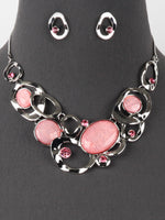 Pink Bib Statement Silver Tone Necklace Earrings Set