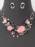 Pink Bib Statement Necklace Silver Tone Earrings Set