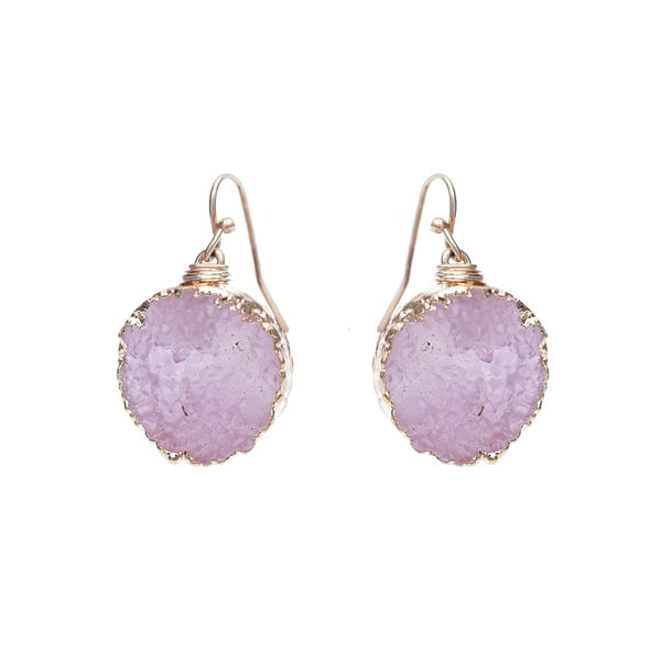 Pink Druzy Dangle Drop Gold Tone Earrings