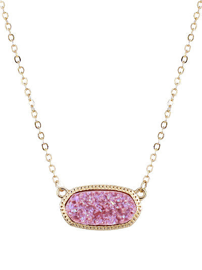 Pink Druzy Stone Gold Tone Chain Necklace