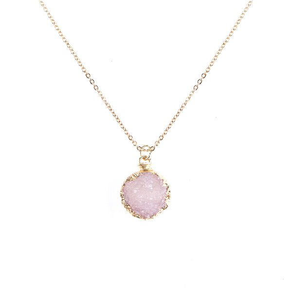 Pink Druzy Stone Gold Tone Chain Pendant Necklace