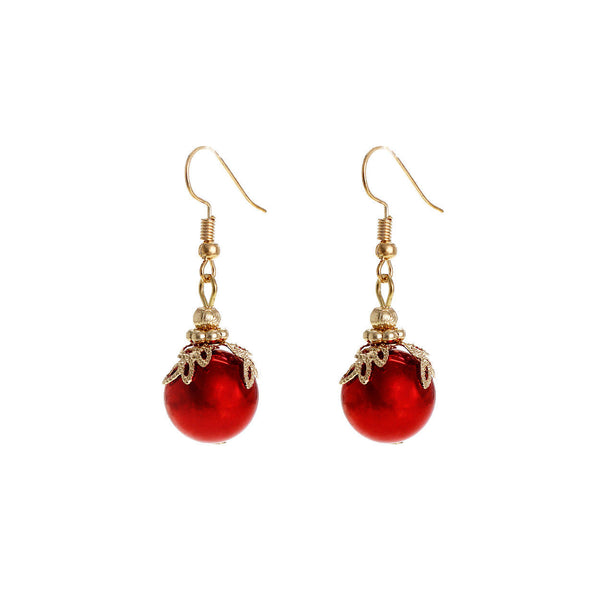 RED Christmas Ornament Holiday Ball Earrings