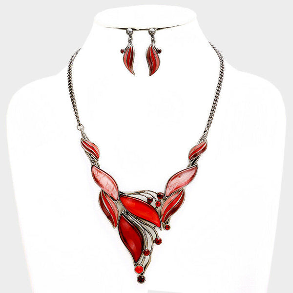 RED Rhinestone Hematite Tone Bib Statement Necklace Earring Set