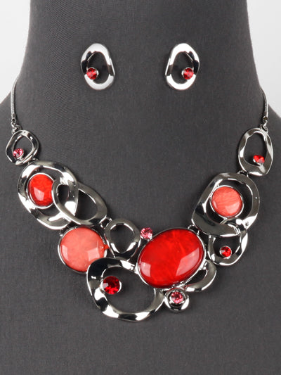 Red Bib Statement Costume Fashion Jewelry Necklace Earrings Set