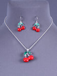 Red Cherry Necklace Earrings Set