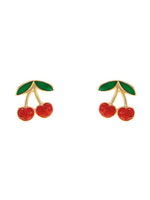The Ma Cherie Red Gem Cherry Stud Gold Tone Fashion Earrings