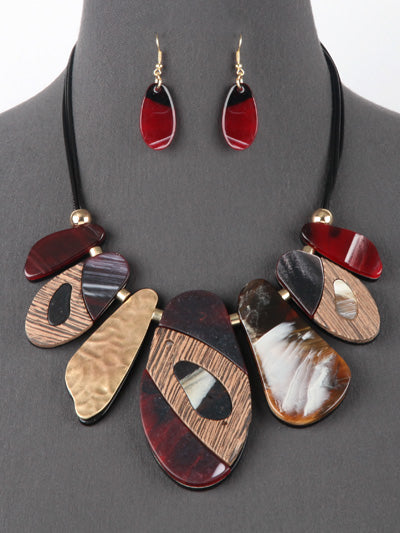 Red Resin and Wood Statement Bib Necklace Set