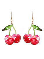 Red Vintage Retro Cherry Drop Cherries Dangle Earrings