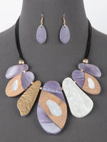 Resin and Wood Statement Bib Necklace Set