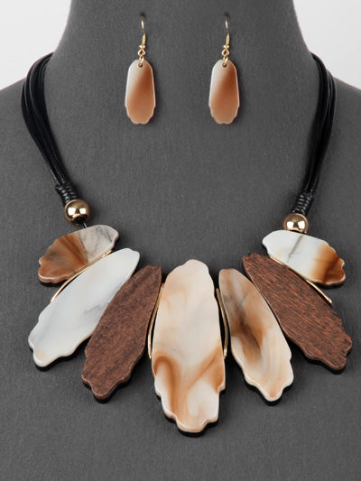 Fashion Resin and Wood Statement Bib Necklace Set - Brown