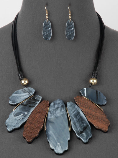 Resin and Wood Statement Bib Necklace Set - Gray