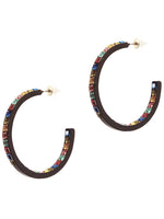 Rhinestone Open Hoop Post Earrings - Multi Color