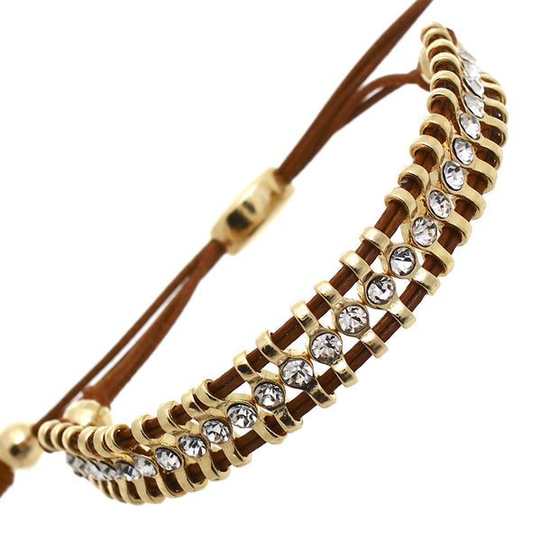 Rhinestone Beaded Cinch Brown and Gold Bracelet