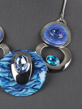 Rhinestone Blue Silver Tone Bib Statement Chunky Necklace Earrings Jewelry Set