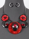 Rhinestone Red Hematite Tone Bib Statement Necklace Earrings