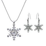 Rhinestone Snowflake Silver Tone Necklace Earrings Set