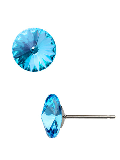 Rivoli Crystal Aqua Fashion Earrings Swarovski Elements 8mm 1/4""