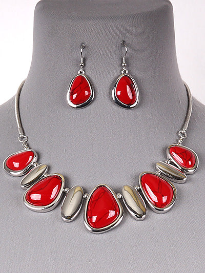 Rory Bright Red Statement Fashion Necklace Earring Set