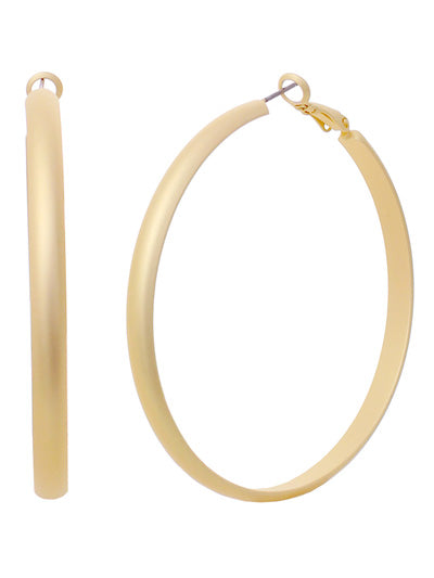 Large Round Hoop Classic Earrings - Matte Gold Tone