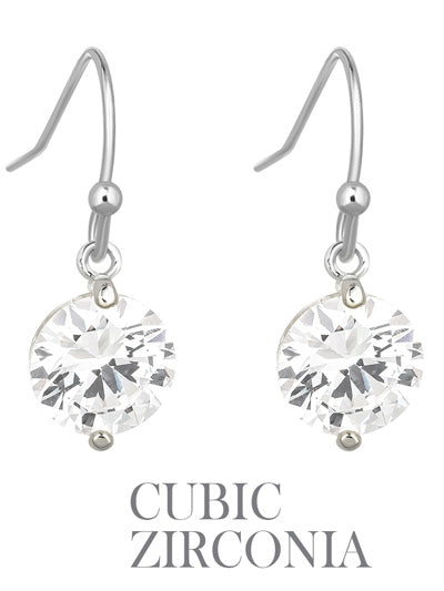 Round CZ Cubic Zirconia Stone Drop Silver Tone Earrings