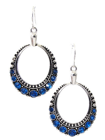Round Dangle Blue Rhinestone Hoop Silver Tone Women Hook Earrings