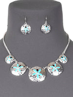 Ocean Sand Dollar Summer Beach Necklace Set - Turquoise