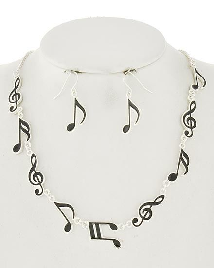 Silver Black Music Notes Treble Clef Musical Necklace Earrings Set